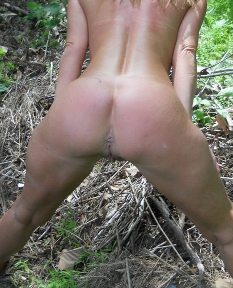 Naked girl in doggystyle position in the forest photo 00247