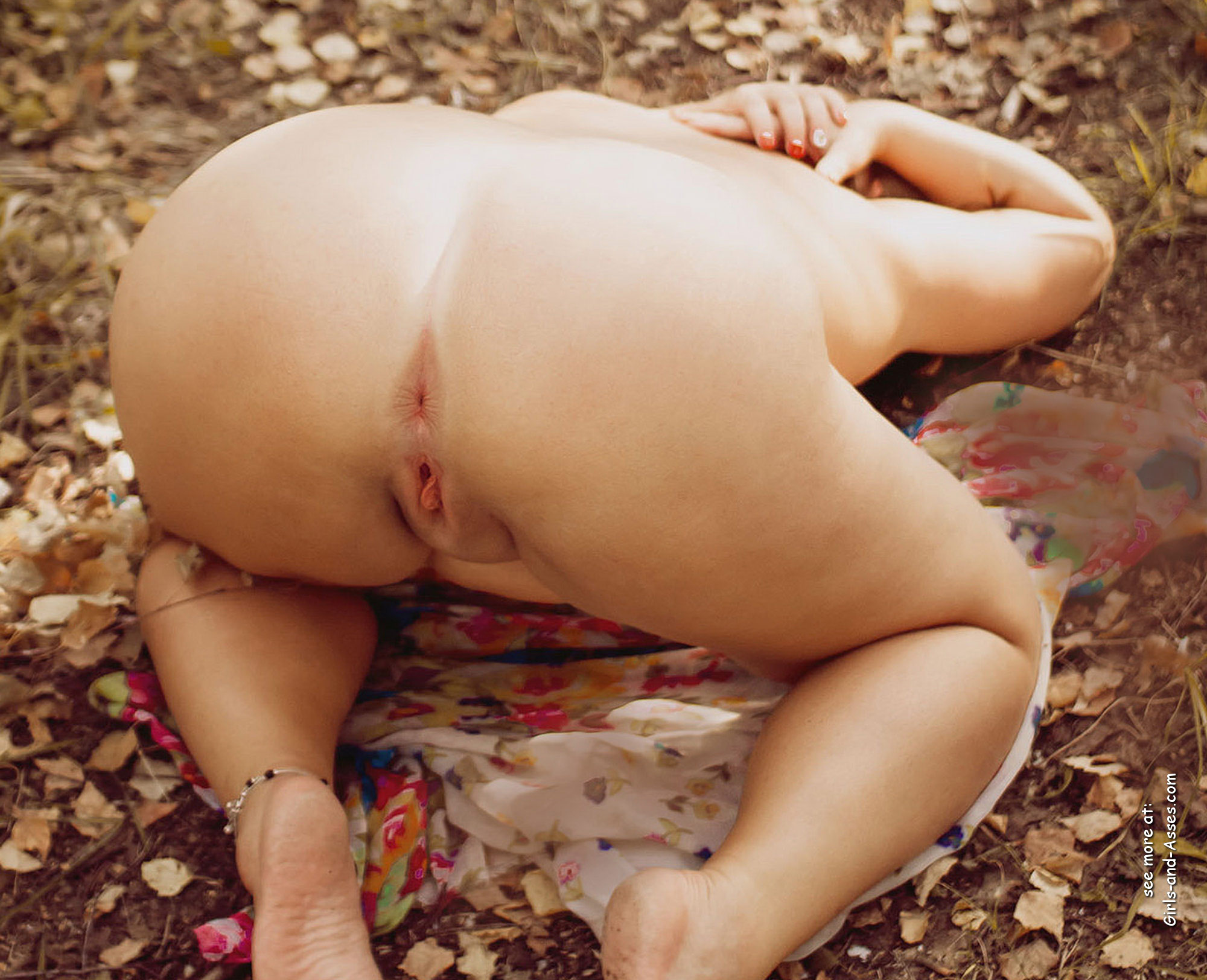 naked girl in doggystyle position in the forest photo 02516