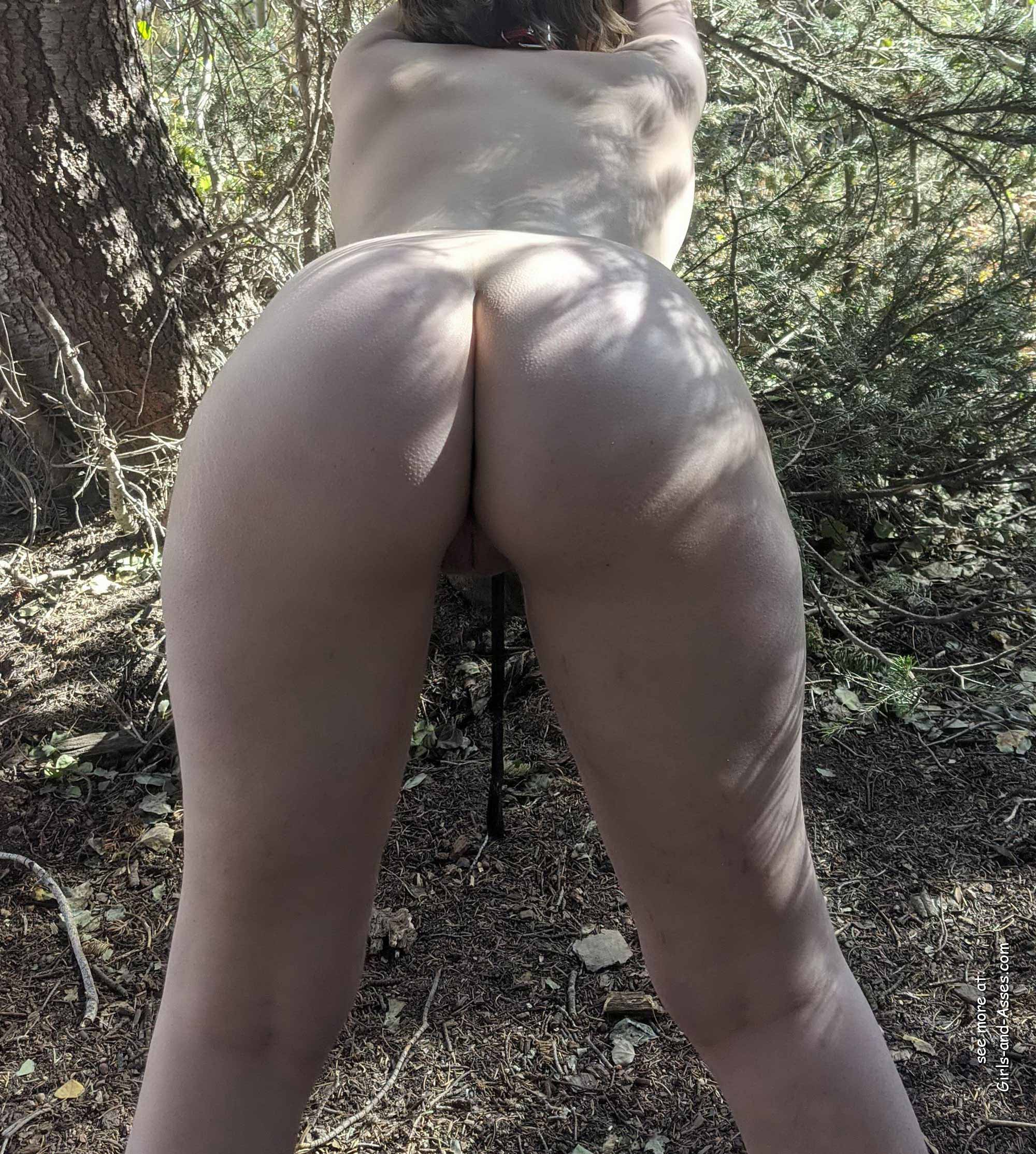 naked girl in doggystyle position in the forest photo 03851