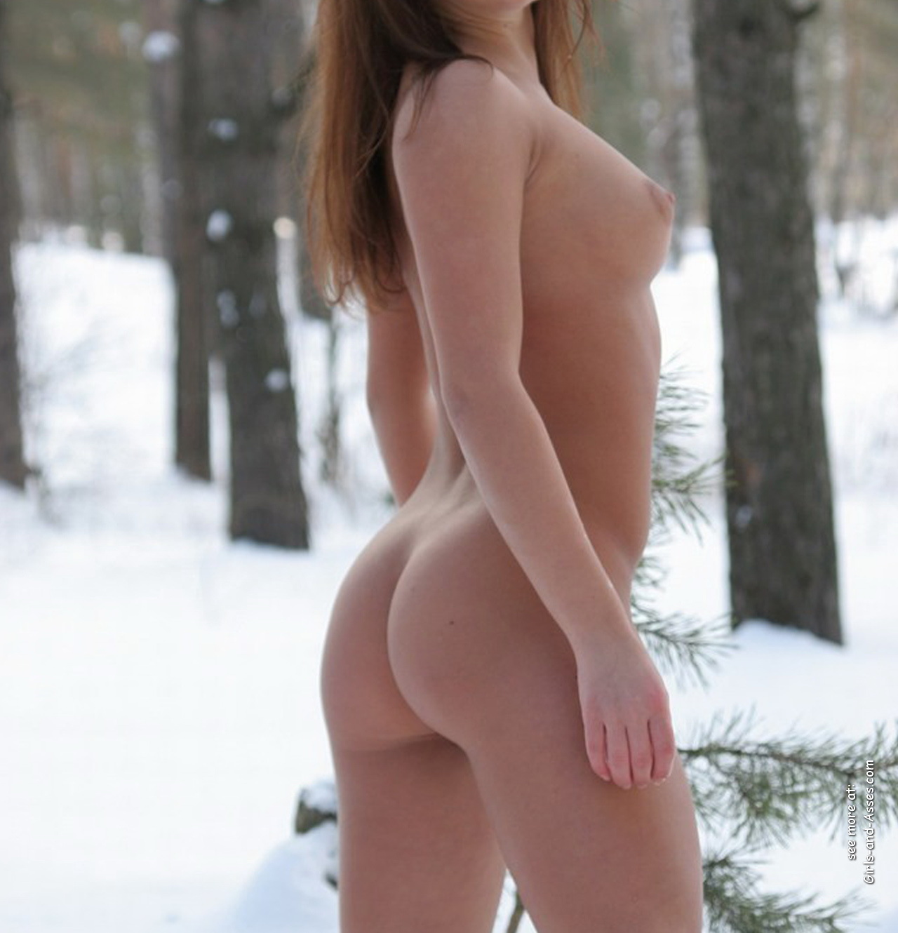 winter and snow and naked girl with onion booty photo 01252