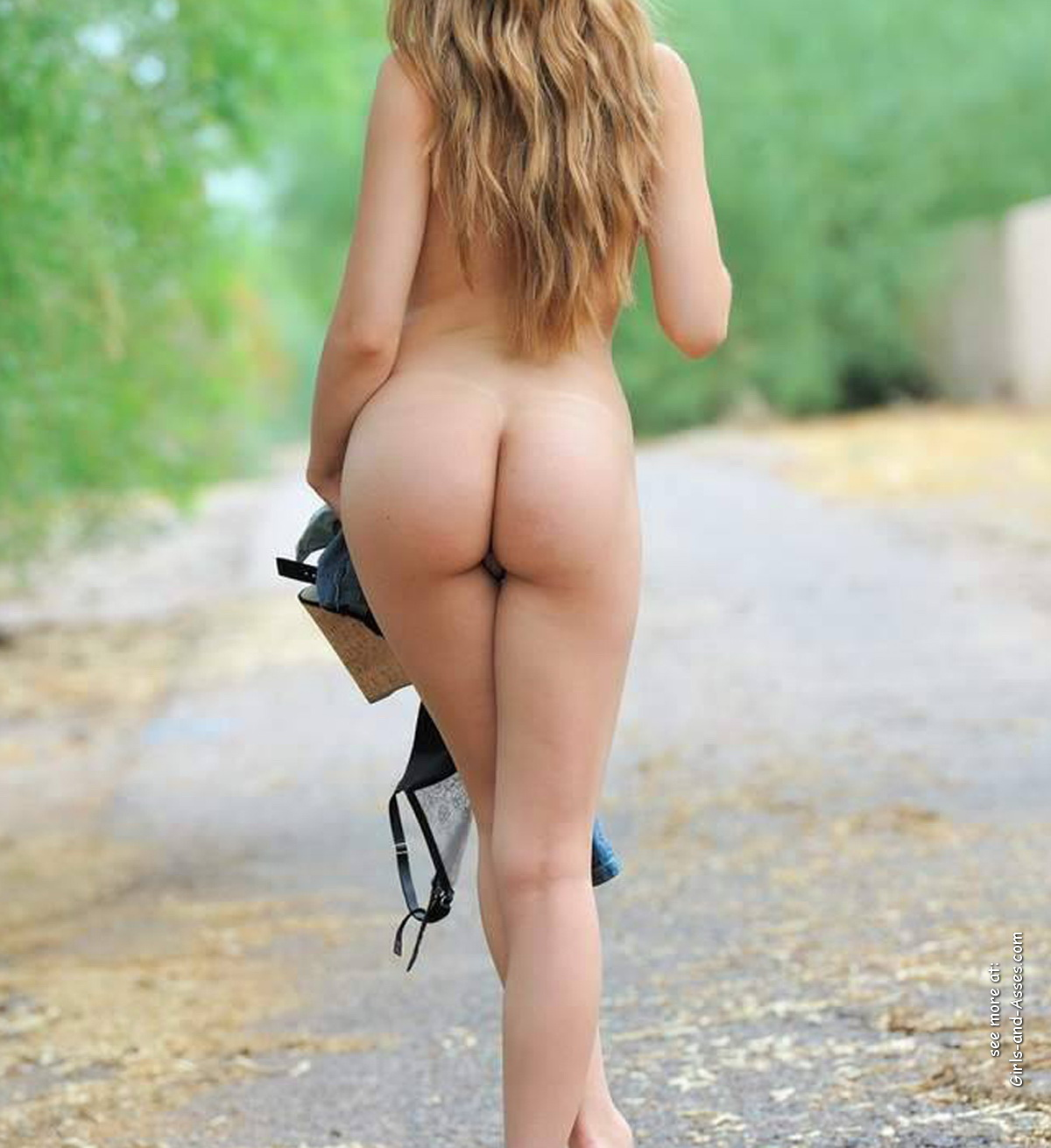 butts in nature naked woman on highway photo 03748