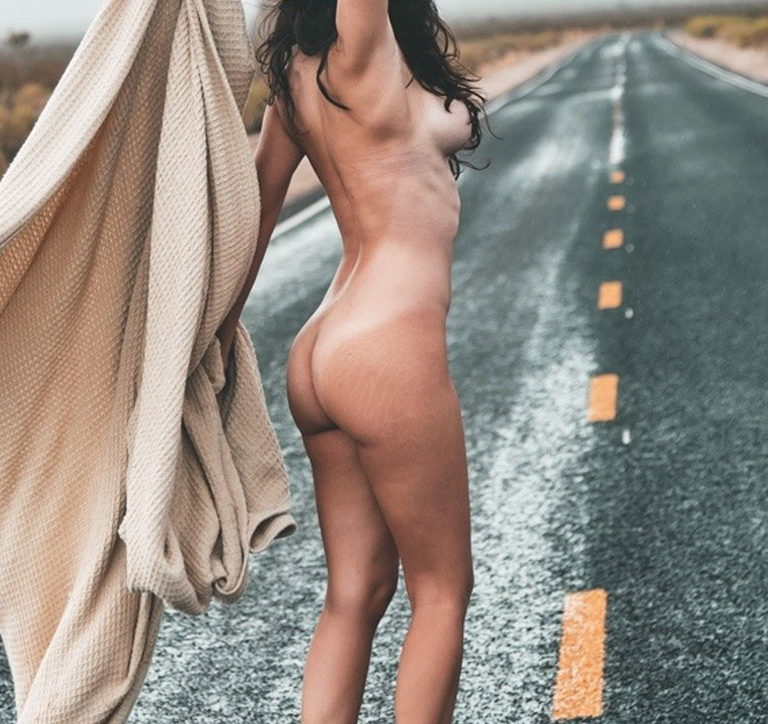 Butts in nature naked woman on highway photo 03848