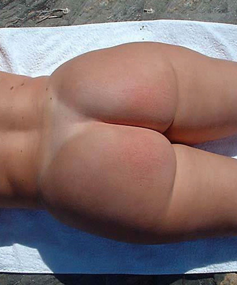 Naked sunbathing tanning on the beach pic 00240