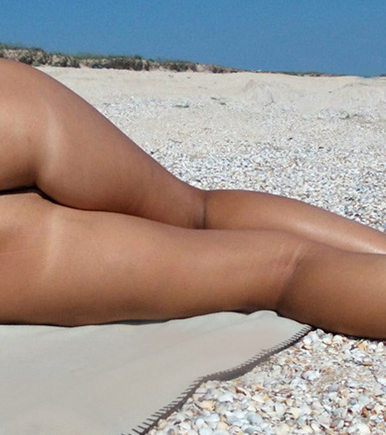 Naked sunbathing tanning on the beach pic 03247