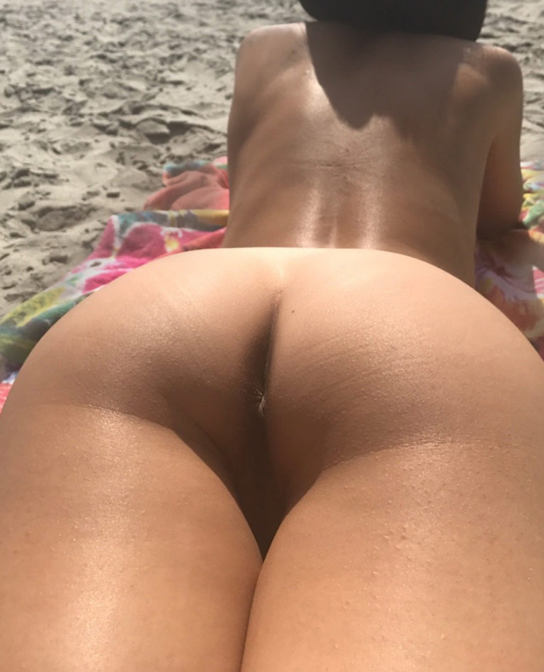 Naked sunbathing tanning on the beach pic 04558