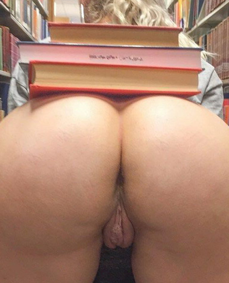 Adorable ass naked in library photo 00518